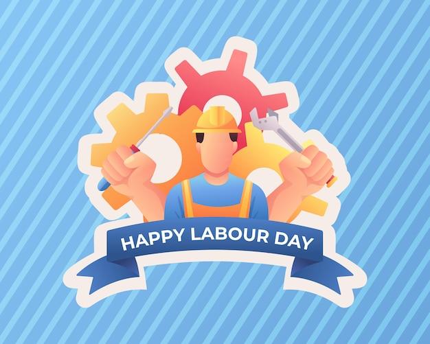労働者との幸せな労働者の日 Premiumベクター
