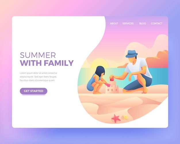 ビーチで父親と遊んでいる子供のランディングページ Premiumベクター