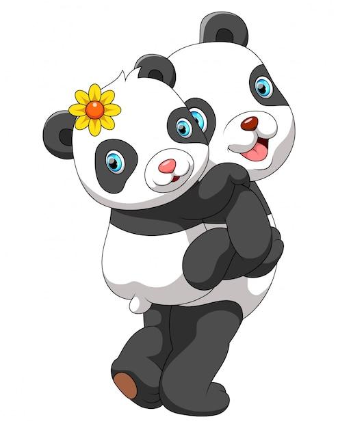 かわいい赤ちゃんパンダを運ぶ母パンダ Premiumベクター