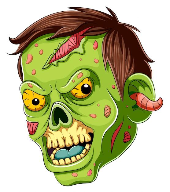 Мультяшный страшный зомби лицо на белом фоне Premium векторы