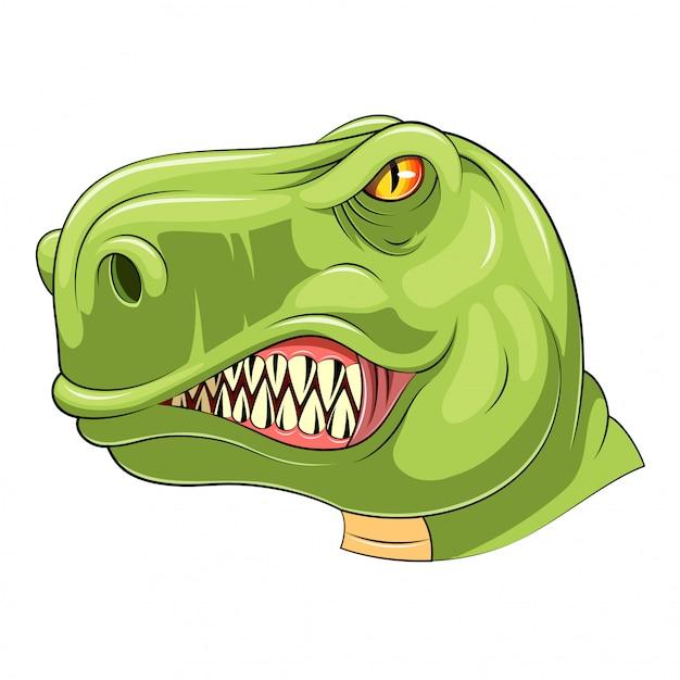 グリーンティラノサウルスヘッドマスコット Premiumベクター