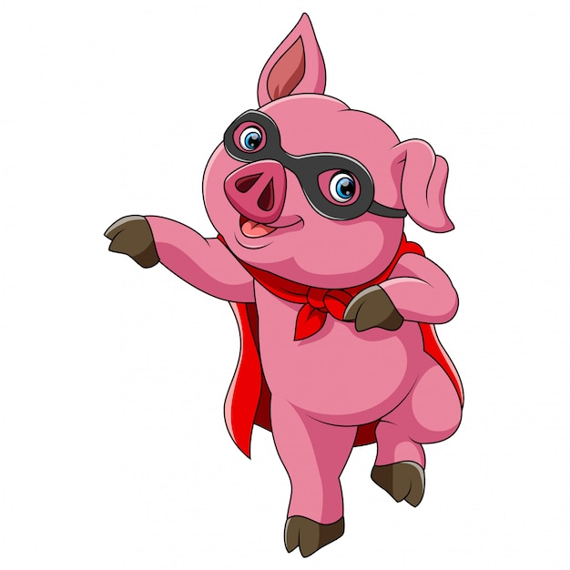スーパーヒーローかわいい豚漫画 Premiumベクター