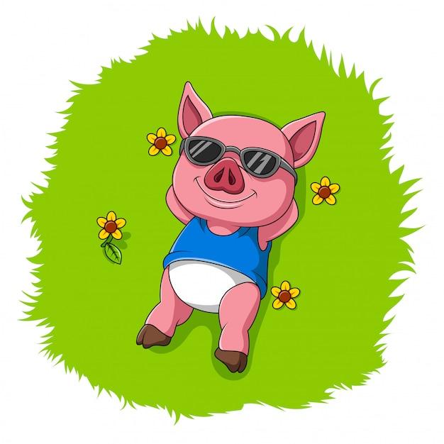 かわいい豚は草の上 Premiumベクター