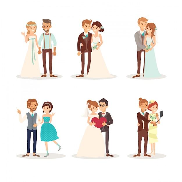 Мило свадьбы пара жених и невеста векторные иллюстрации мультфильм Бесплатные векторы