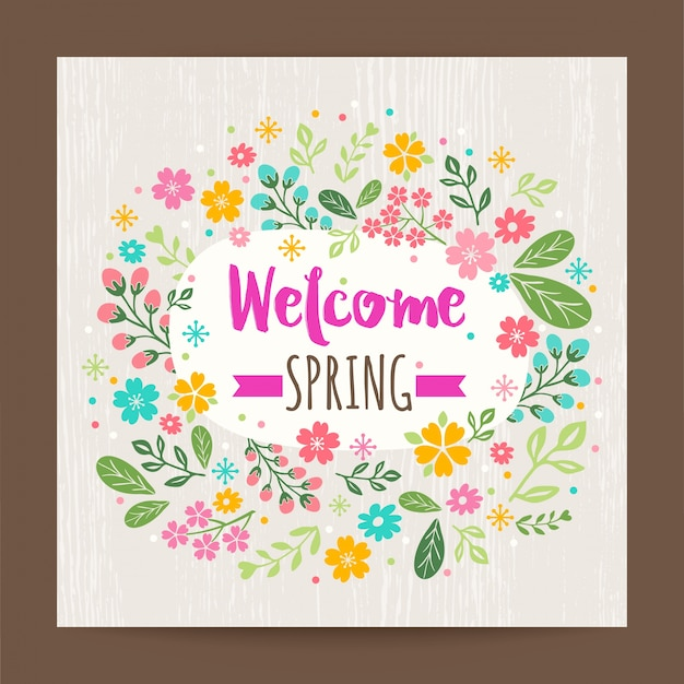 木の質感の背景に歓迎春の花のイラスト ベクター画像 無料ダウンロード