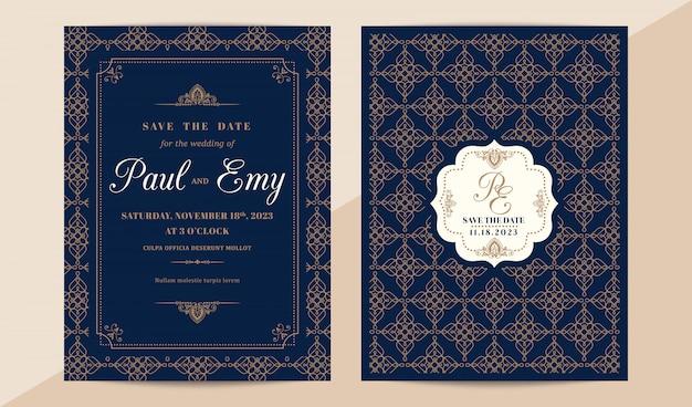 Классическая винтажная свадебная пригласительная открытка с элегантным рисунком Premium векторы