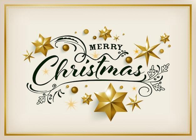ゴールデンスターの背景を持つメリークリスマスのグリーティングカード Premiumベクター