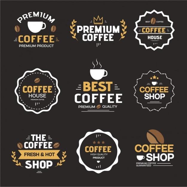 コーヒーのラベルコレクション 無料ベクター