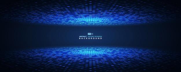 未来的な抽象的な青いハーフトーンサークル。 Premiumベクター