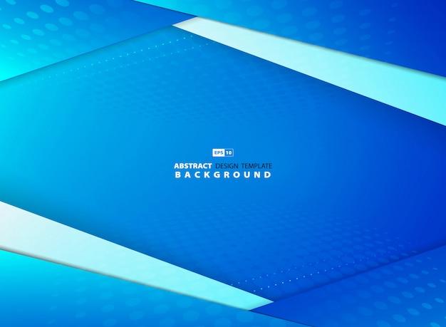 抽象的なグラデーションの青い空は、ハーフトーン装飾背景とデザインを重複します。 Premiumベクター