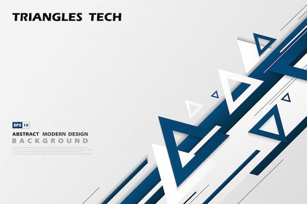 抽象的なグラデーションブルー三角形技術は、未来的なパターンスタイルのデザインをオーバーラップします。 Premiumベクター