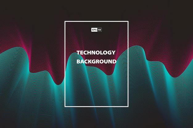 抽象的な波状技術の色の背景 Premiumベクター