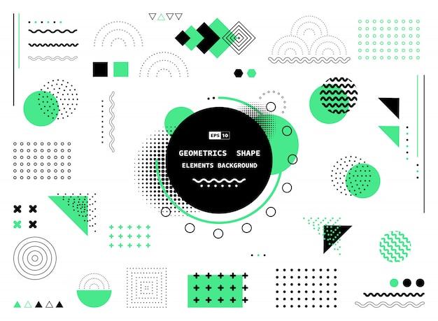 抽象的な緑と黒の幾何学的図形の背景 Premiumベクター