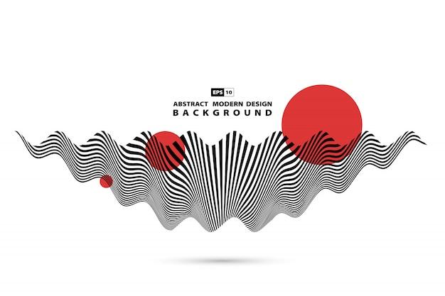 抽象的な黒と白の波状音波形状装飾背景。 Premiumベクター