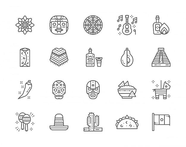 メキシコ文化ラインアイコンのセット。 Premiumベクター