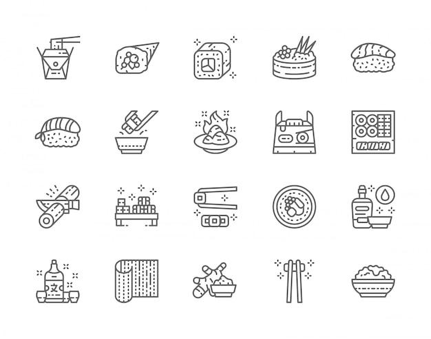 Набор иконок японской кухни и суши линии. филадельфийский ролл, имбирь, темаки, нигири, васаби, соевый соус, саке и многое другое. Premium векторы