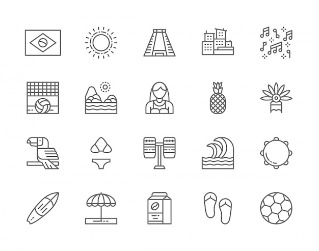 ブラジル文化行アイコンのセット。トロピカルフルーツ、ビーチの風景、オオハシ、太陽、古代のピラミッド、パーカッション、サーフボード、サッカーなど。 Premiumベクター