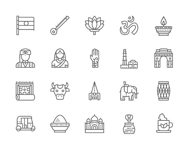 Набор иконок линии индийской культуры. слон, тук тук автомобиль, кобра, ситар, мантра, масляная лампа, животное и многое другое. Premium векторы