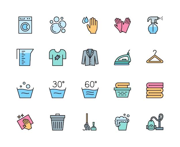 Набор иконок прачечная и уборка цвет линии. стиральная машина, вешалка и многое другое. Premium векторы