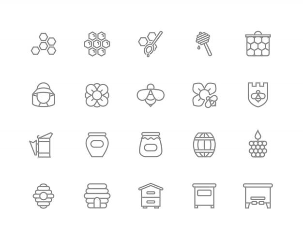 Набор иконок линии меда. пчела, соты, бочка и многое другое. Premium векторы