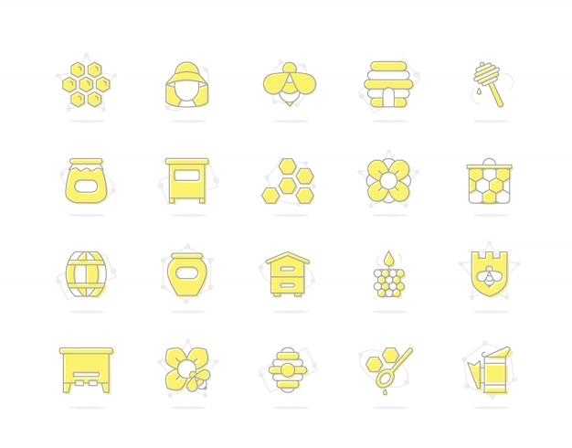 Набор мед линии цветных значков. пчела, соты, бочка, пчеловод и многое другое. Premium векторы
