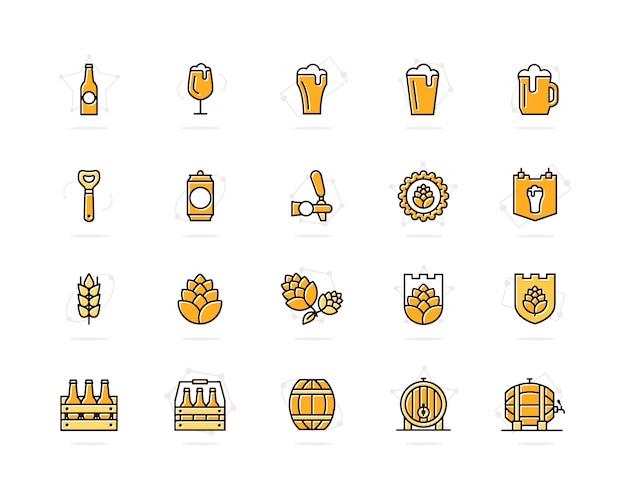 Набор пива и бар цветные значки линии. алкоголь, бутылка, кружка, ячмень и многое другое. Premium векторы