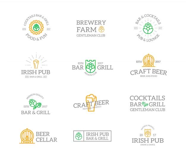 Набор пива и алкоголя логотипа комбинации. Premium векторы