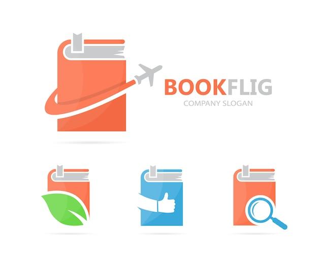 本と飛行機のロゴを設定します。 Premiumベクター