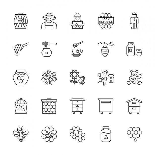 Набор иконок линии меда. пчеловод, защитный костюм, пасека, улей и многое другое. Premium векторы