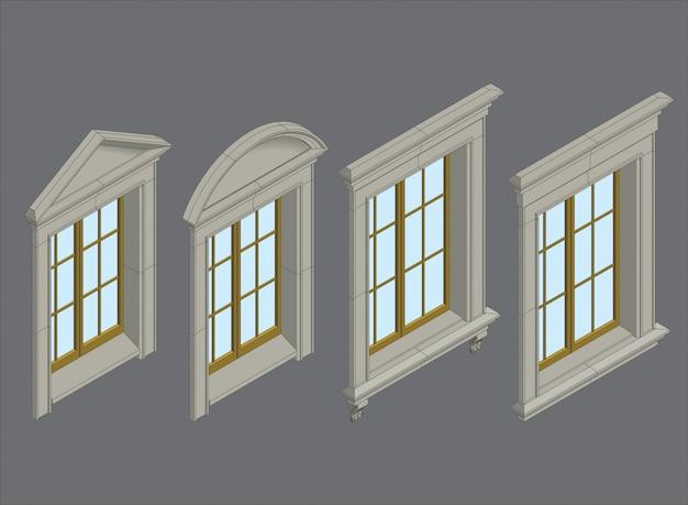 同型窓セット Premiumベクター
