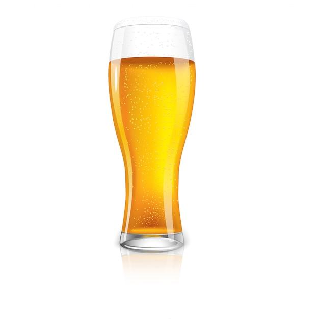 滴とビールの優れた分離ガラス。 Premiumベクター