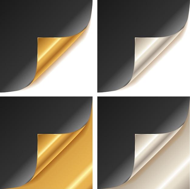丸まった金と銀のページコーナー Premiumベクター