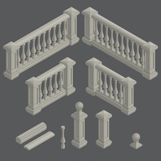 Набор архитектурных элементов балюстрады Premium векторы