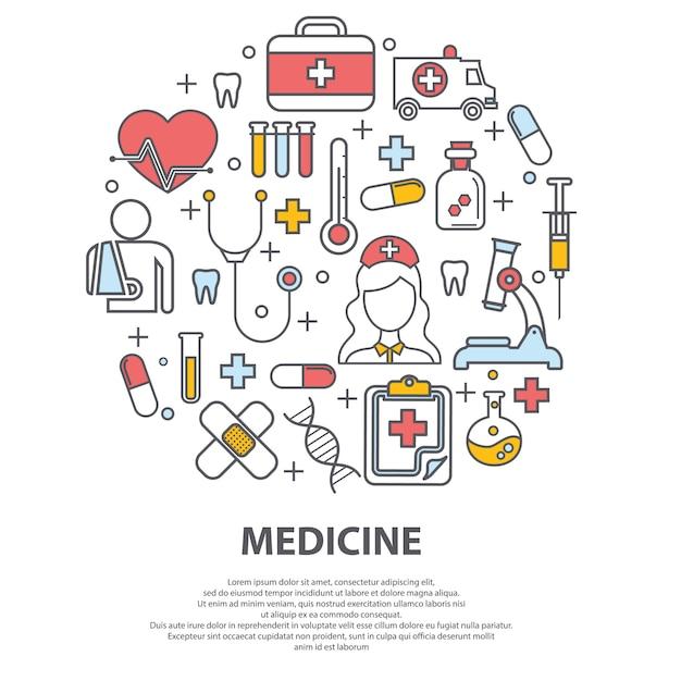 Концепция здравоохранения с тонкими линиями иконок Premium векторы