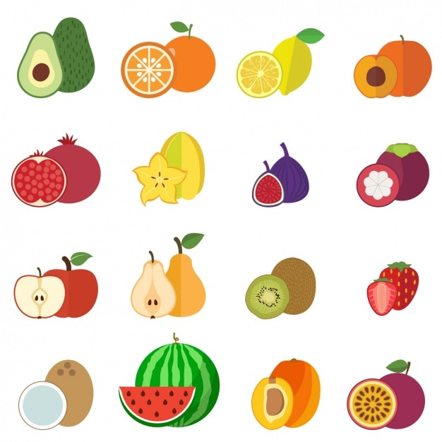 Коллекция фрукты иконки Бесплатные векторы