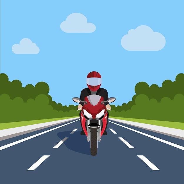 道路設計上のバイク 無料ベクター