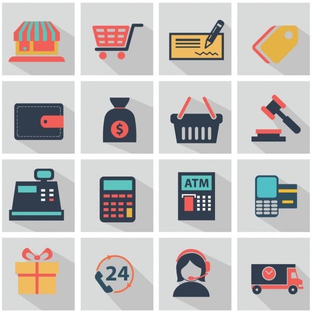 Плоские элементы о магазинах Бесплатные векторы