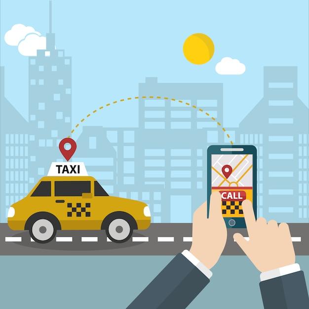 Человек вызова такси фон Бесплатные векторы