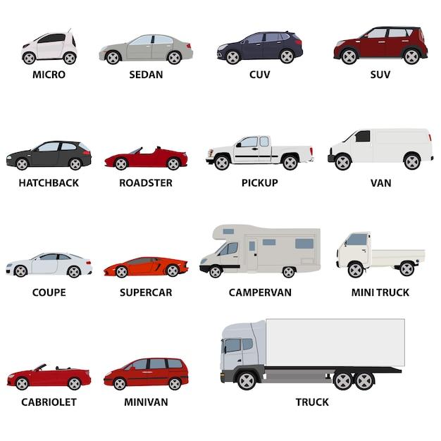 Коллекция транспортные средства Бесплатные векторы