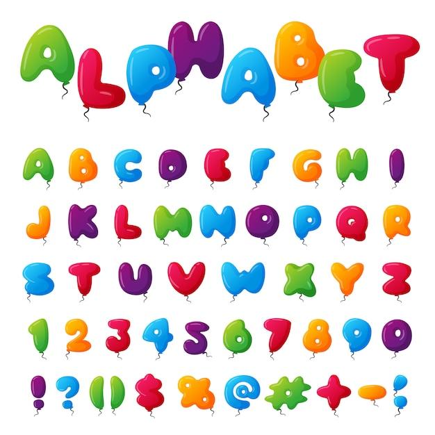 バルーンアルファベットセット Premiumベクター