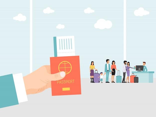 空港でパスポートとチケットを持っている手。空港で荷物を持った人々が飛行中に並んでいます。旅のパスポートと搭乗券を持つ男の手 Premiumベクター