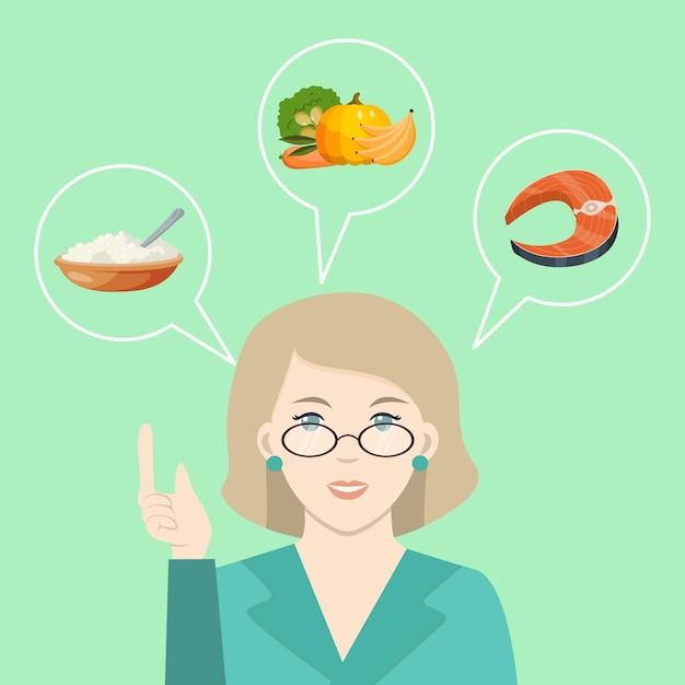 Доктор говорит о здоровой пище. диетолог, прописывающий диету и здоровое питание. диетолог, предлагающий свежие овощные продукты Premium векторы