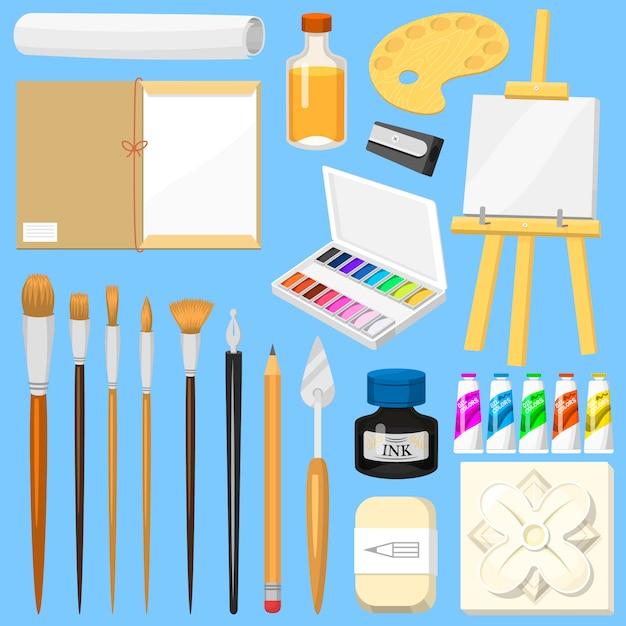 アーティストツール水彩絵の具パレットとアートスタジオの芸術的な絵画セットのアートワークのための色の塗料キャンバス Premiumベクター