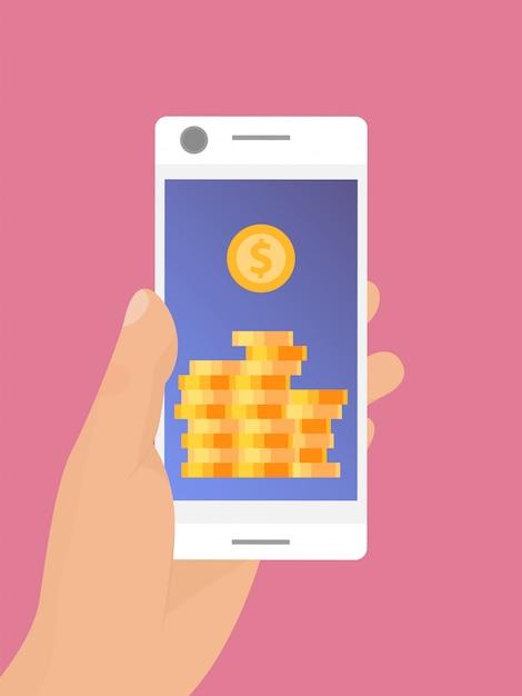 Рука мобильный смартфон с золотыми монетами на экране Premium векторы