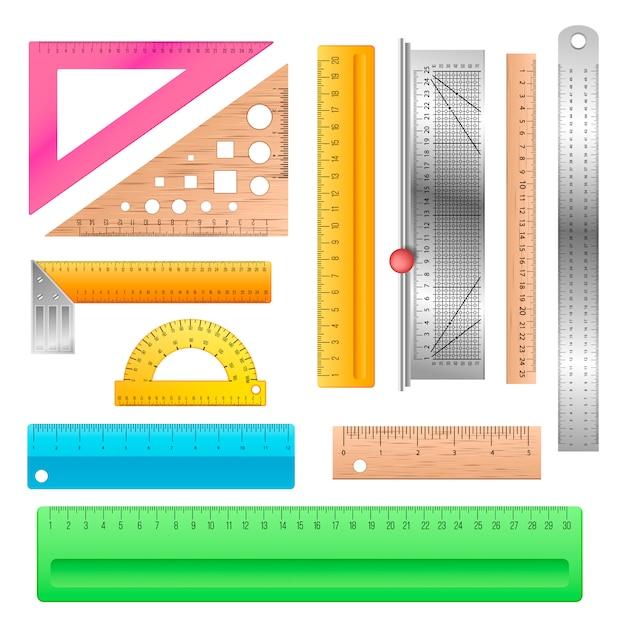 Линейка школьных канцелярских принадлежностей для измерения линейки инструментов для иллюстрации длины Premium векторы