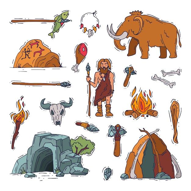 原始人の原始的なネアンデルタール人のキャラクターと石器時代の洞窟で古代の穴居人の火。 Premiumベクター