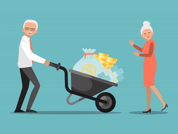 Инвестиции в пенсионный фонд. старик нажимая тачку с деньгами в банке. финансовая система для пожилых людей, помощь со стороны правительства Premium векторы