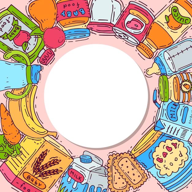 赤ちゃんサークルベクトルイラストの食物と一緒に丸いフレーム。哺乳瓶、ピューレの瓶、果物、野菜はすべて、テキスト用の場所のある白い円の周りにあります。 Premiumベクター