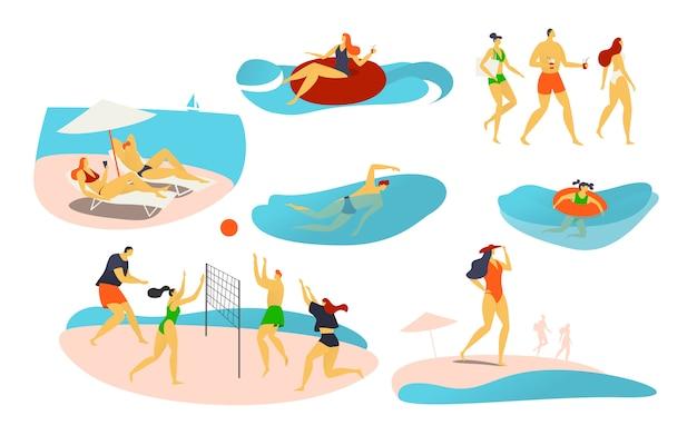 Люди на пляже, иллюстрации, персонажи играют в волейбол, плавают на резиновом кольце, загорают и проводят летние каникулы на берегу моря. Premium векторы