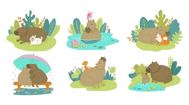 白で隔離漫画動物齧歯動物に幸せなかわいい面白いカピバラ。夏の野生動物の赤ちゃん、犬、猫、猿とカピバラ。ベンチに雨の中で傘の下でカップルカピバラ Premiumベクター